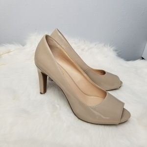 Franco Sarto nude peep toe heels patent leather  8